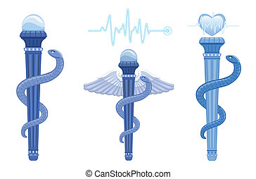 Rod of Asclepius and Caduceus - medical symbol - The...
