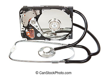 Reflected in the hard disk, a stethoscope. Diagnostic.