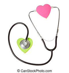 The concept of the heart and the stethoscope. On a white background.