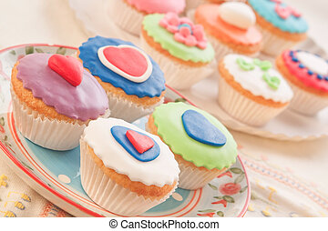 Colorful and decorative cakes. Home cooking.