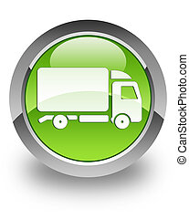 Truck glossy icon - Truck icon on glossy green round button