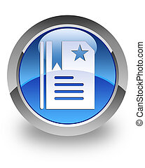 Bookmark glossy icon - Bookmark icon on glossy blue round...
