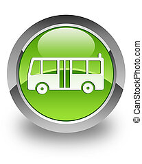 Bus glossy icon - Bus icon on glossy green round button