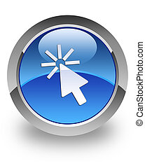 Cursor glossy icon - Cursor icon on glossy blue round button