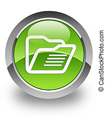 Folder glossy icon - Folder icon on glossy green round...