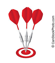 red darts with dartboard isolated over white background....