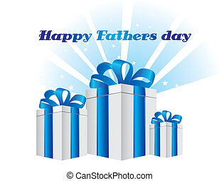 father day - happy fathers day with gifts card. vector...