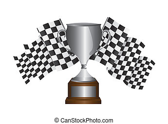 silver trophy with checkered flag isolated over white...