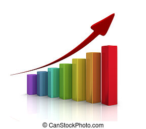 Success graph with red arrow