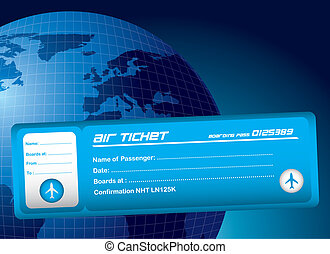 air ticket - blue air ticket over blue planet background....