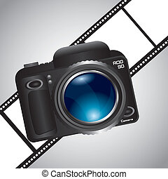 camera over film stripe over gray background vector...