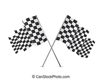 checkered flags isolated over white background vector...