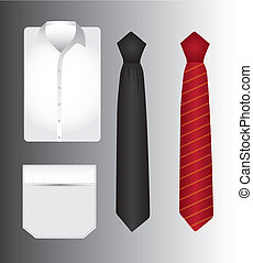 t shirt and tie - t shirt an tie over gray background vector...
