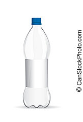 plastic bottle with shadow over white background. vector