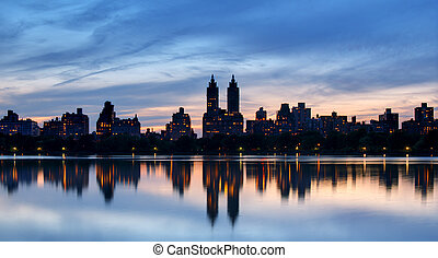Central Park West - Skyline of buildings along Central Park...