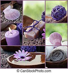 Dayspa violet collage - Restaurant series. Collage of fancy...