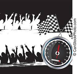 speed racing with silhouette men, grunge vector illustration...