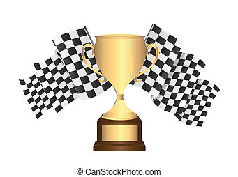 gold trophy with checkered flags isolated. vector...