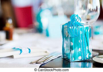 gift on wedding table