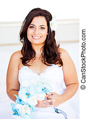 beautiful young bride with bouquet