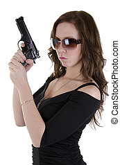 Young woman with gun 4 - Yound criminal woman with gun on...