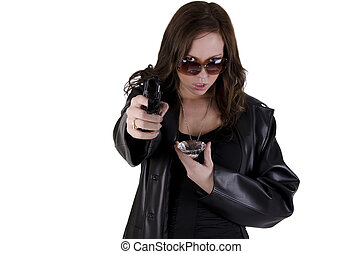 Young woman with gun - Yound criminal woman with gun on over...