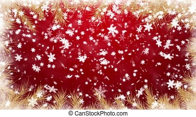 Winter background - The fur-tree branches, falling snow -...