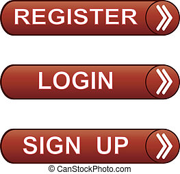 Glossy buttons pack - sign up, register,  login.