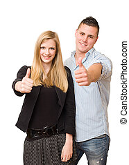 Attractive young student couple. - Studio portrait of an...