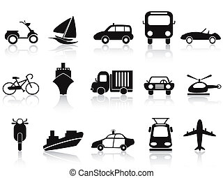 black transportation icons set - isolated black...