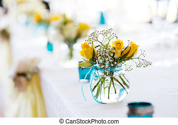 flower on wedding table
