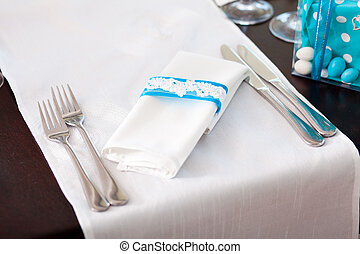close up of wedding table setting
