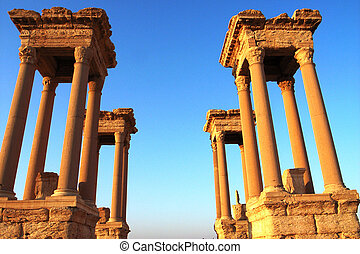 Relics of Palmyra in Syria - Relics Palmyra in Syria against...