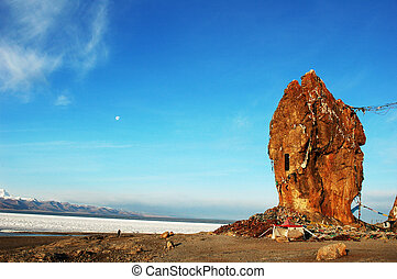 Landscape in Tibet - Landscape at the lakeside of Namtso in...