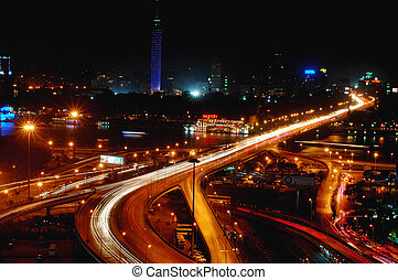 Night scenes of Cairo, Egypt - Night scenes of downtown...