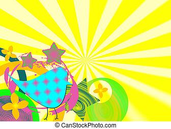 Funky retro shapes on bright sunburst background