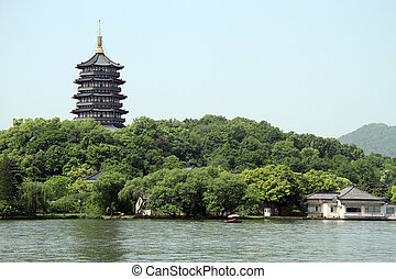Pagoda Leifeng on the bank of West lsake in Hangzhou, China