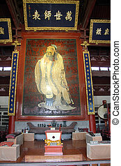 Confucius - Picture of Confucius on the wall inside temple...