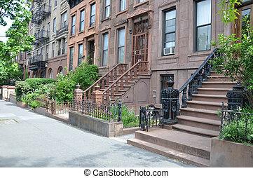Brownstones New York - Brownstone Residential Neighborhood