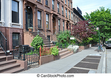 Brownstone Urban City Sidewalk - Brownstone Buildings Urban...