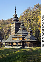 old wooden church in the Carpathian Mountains