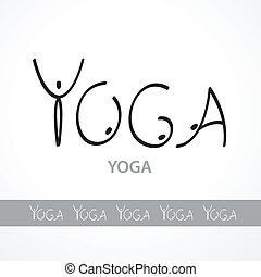 yoga - Template labels yoga, made unique font in the form of...