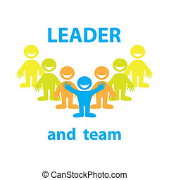 leader-team -  Leader and his team. Business design.