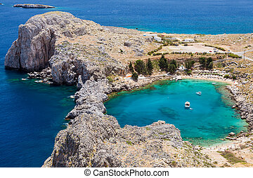 St Pauls Bay - Looking down onto St Pauls Bay at Lindos on...