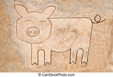 The Iron pattern line of pig on cement floor