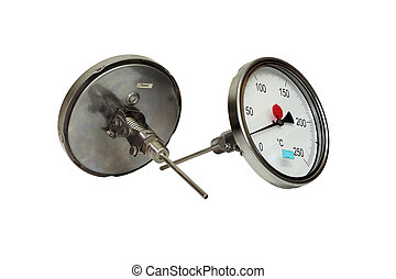 Industrial thermometer. - Manometric thermometer. Close-up....