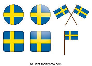 badges with Sweden flag