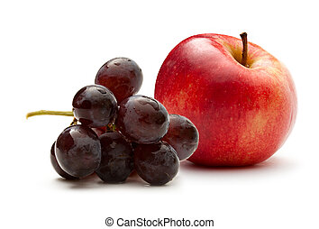 Red apple and dark grapes
