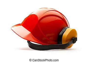 Hjälm, säkerhet, röd, hörlurar