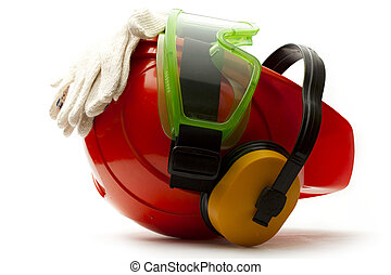 Red safety helmet with earphones, goggles and gloves